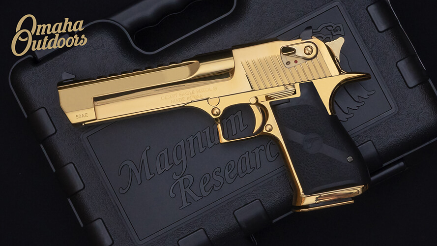 gold desert eagle on black case