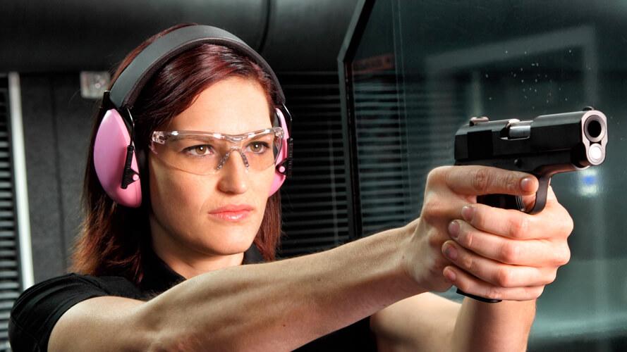 Woman Shooting Indoor Range